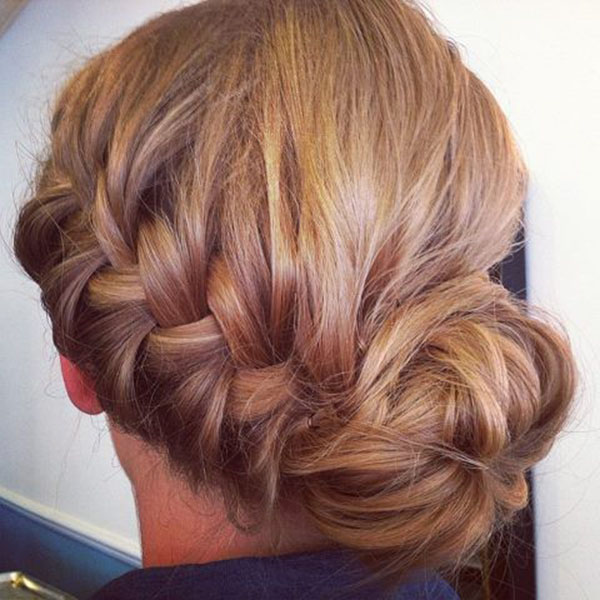 French Braided Messy Bun