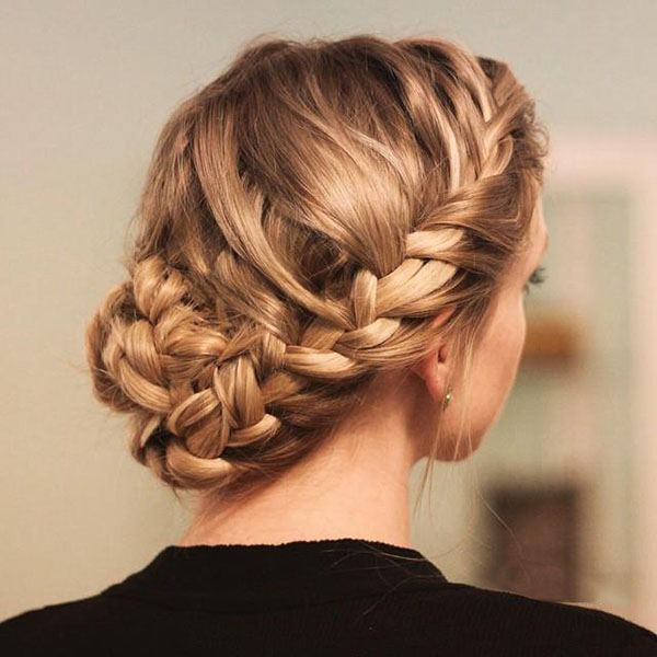Nice  French Braided Messy Bun