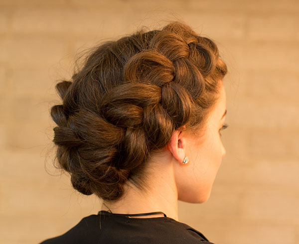 Dutch Braid Updo Hairstyle